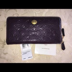 New deep purple Coach Wallet zip around large